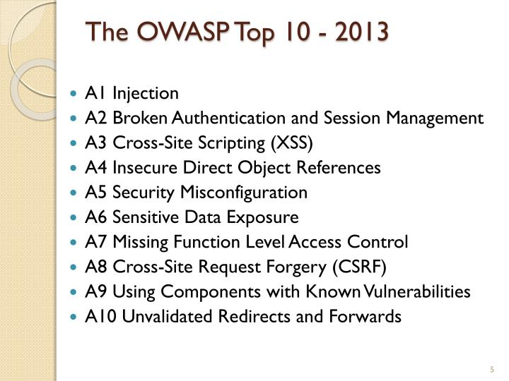 The OWASP Top 10 - 2013