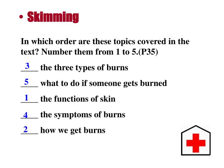 In which order are these topics covered in the text? Number them from 1 to 5.(P35)