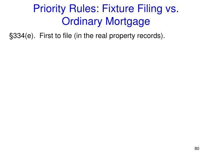 Priority Rules: Fixture Filing vs.