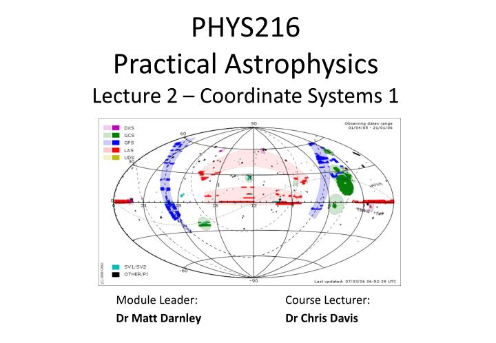 phys216 practical astrophysics lecture 2 coordinate systems 1 n.