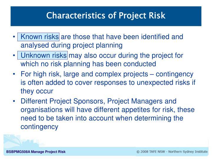 Characteristics of Project Risk