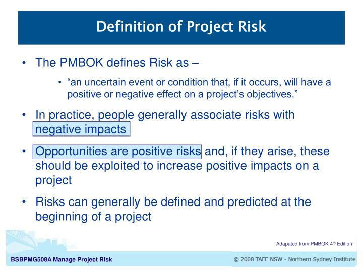 Definition of project risk
