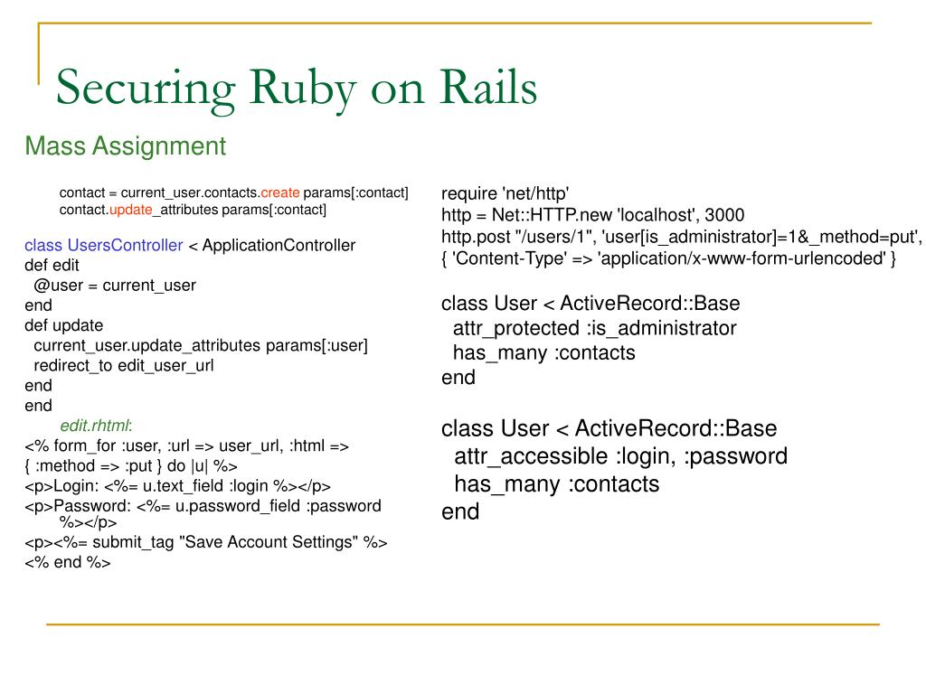PPT - Securing Ruby on Rails PowerPoint Presentation - ID:6020609