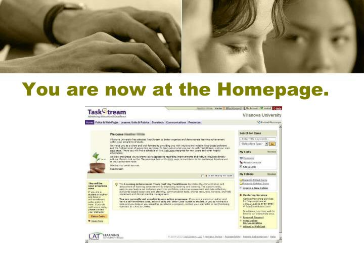 You are now at the Homepage.