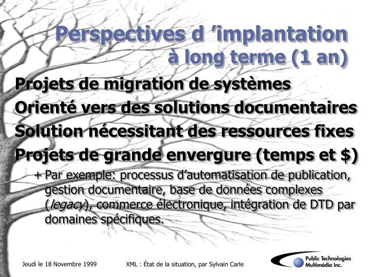 Perspectives d'implantation