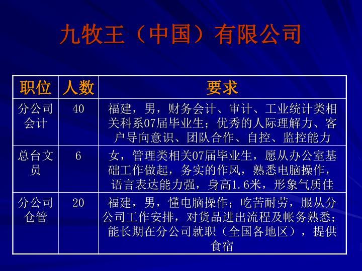 九牧王(中国)有限公司