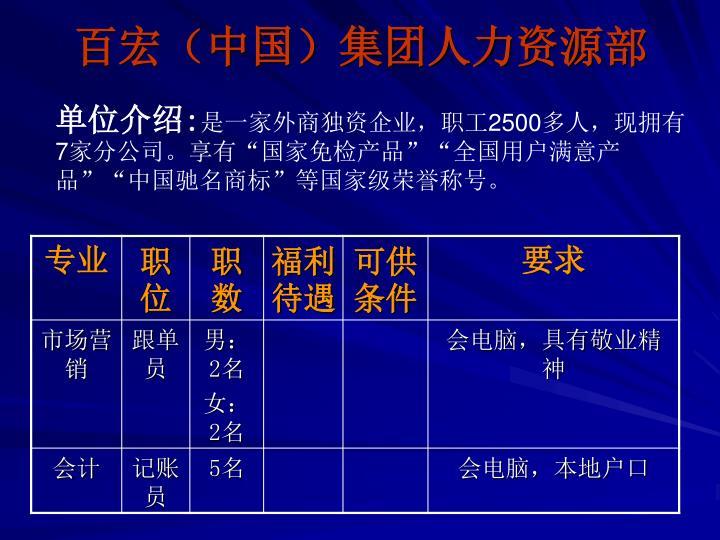 百宏(中国)集团人力资源部