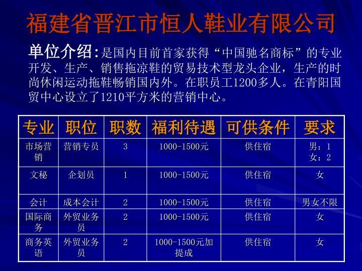 福建省晋江市恒人鞋业有限公司
