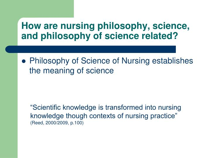 How are nursing philosophy, science, and philosophy of science related?