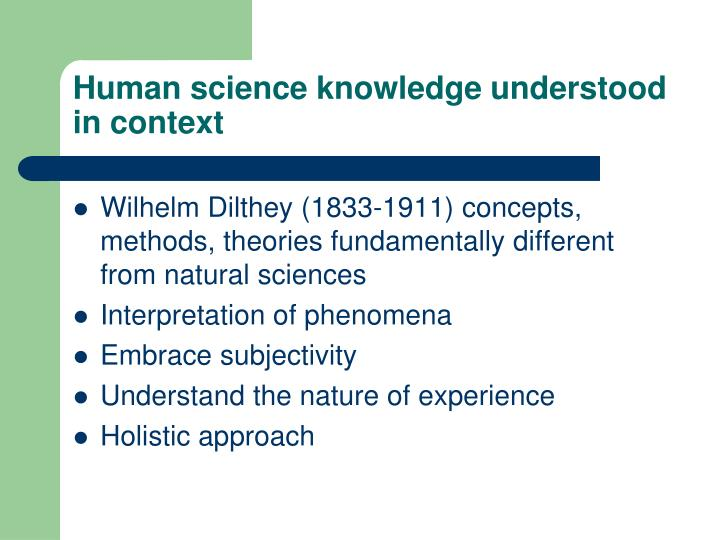 Human science knowledge understood in context