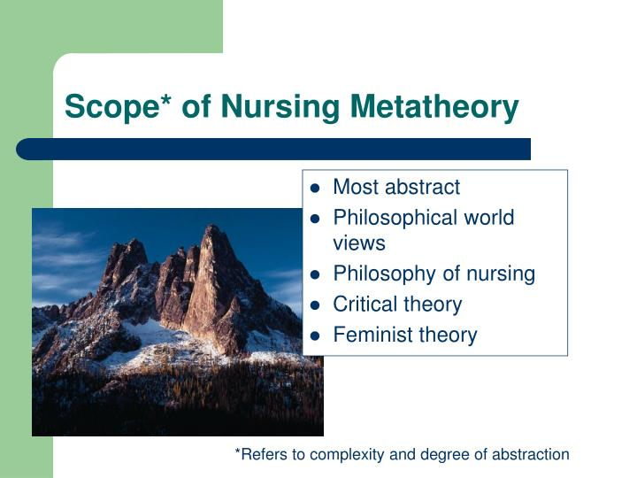 Scope* of Nursing Metatheory