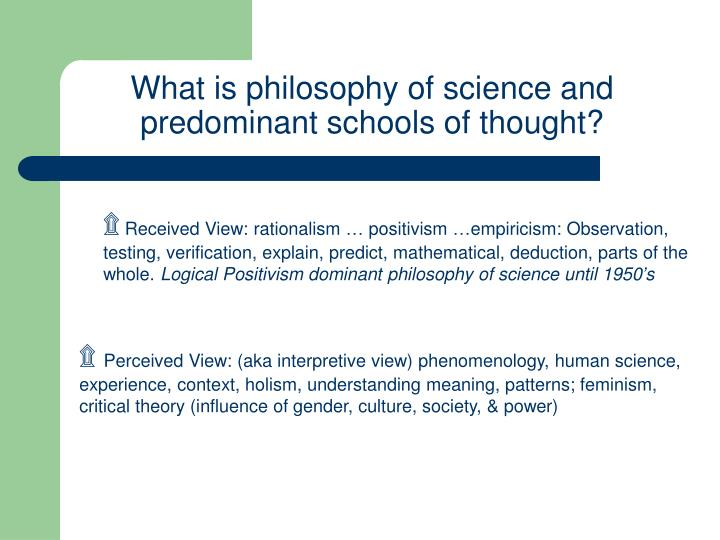 What is philosophy of science and predominant schools of thought?