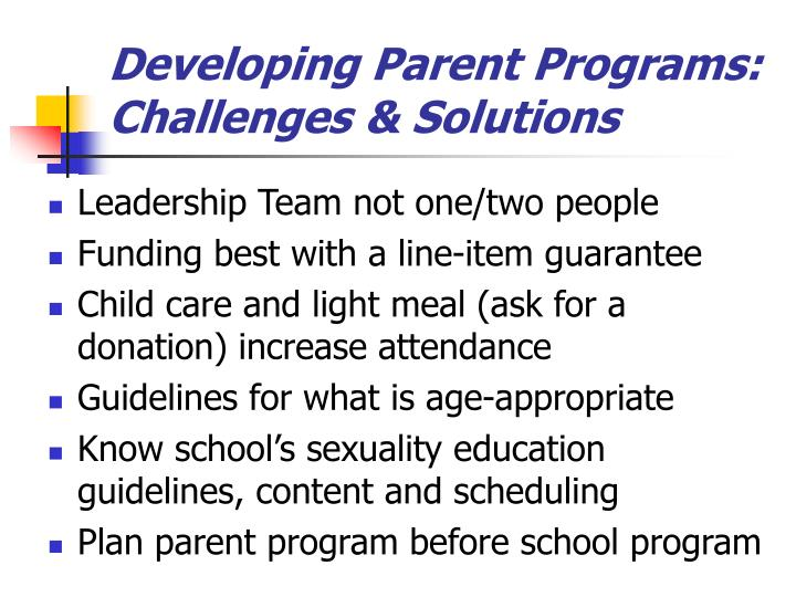 Developing Parent Programs: Challenges & Solutions