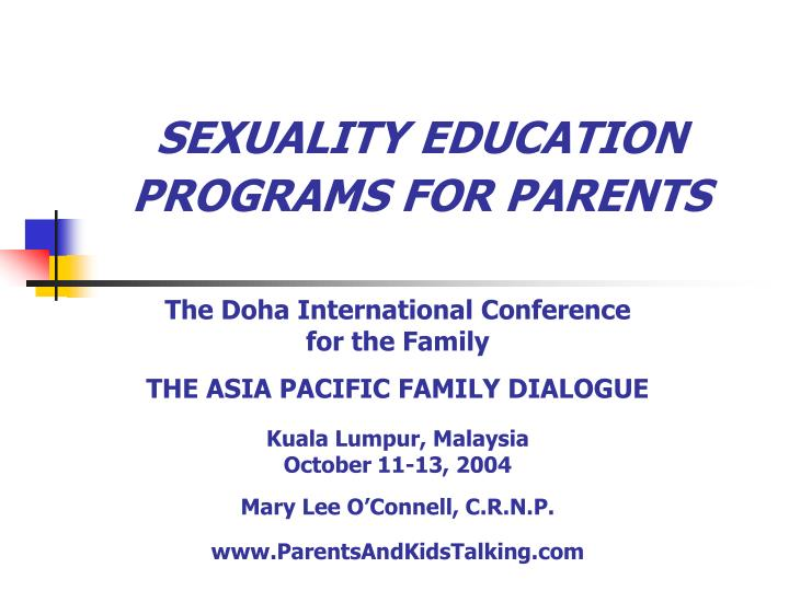 Sexuality education programs for parents