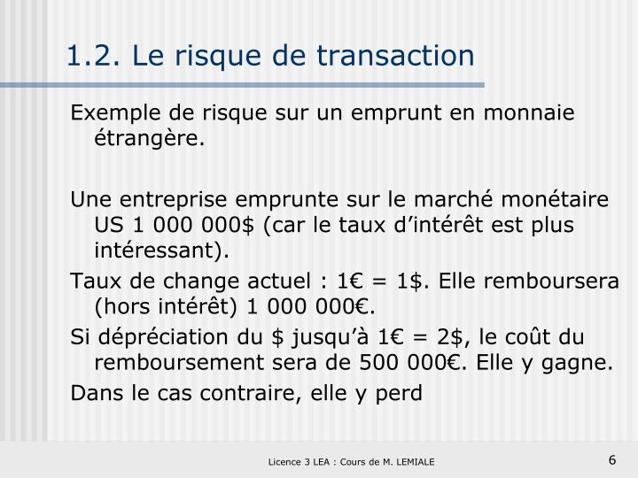 1.2. Le risque de transaction