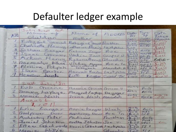 Defaulter ledger example