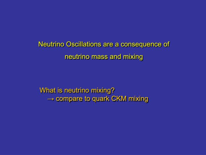 Neutrino Oscillations are a consequence of