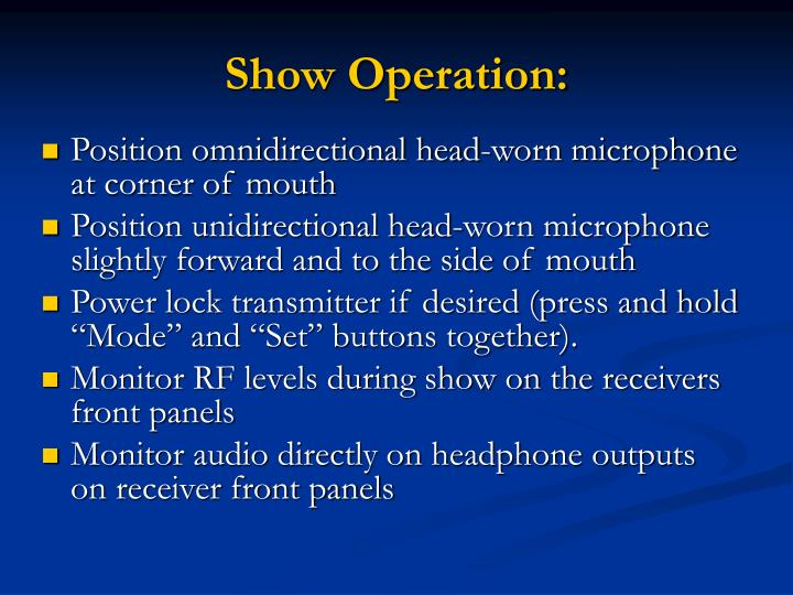 Show Operation: