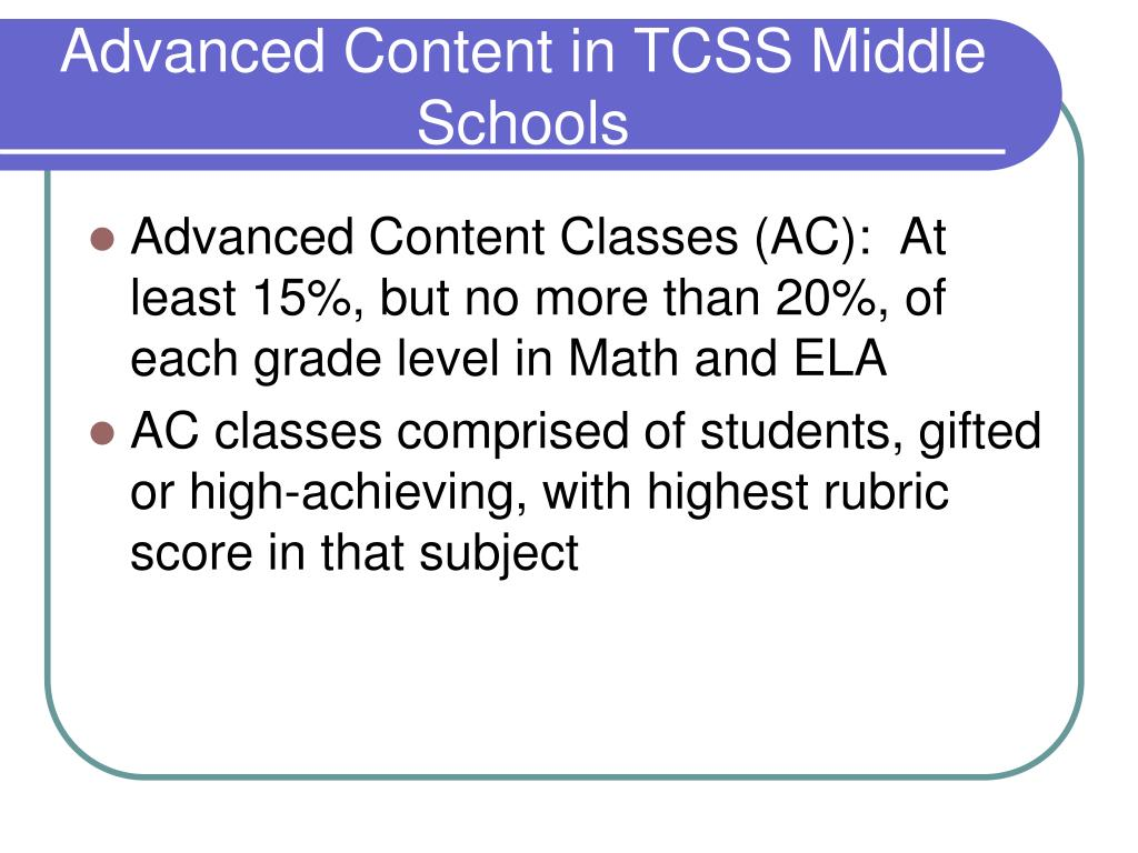 PPT - Gifted Education in Middle School Rising 6 th Grade