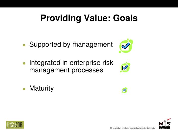 Providing Value: Goals