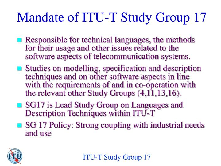Mandate of ITU-T Study Group 1