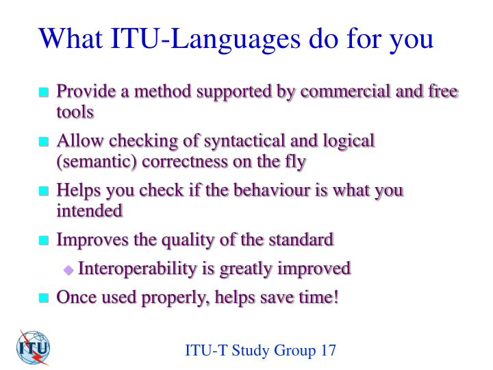 What ITU-Languages do for you