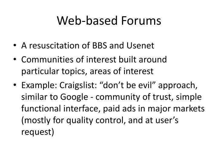 Web-based Forums