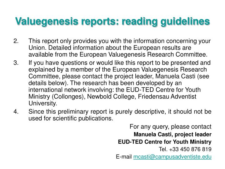 Valuegenesis reports reading guidelines1