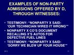 examples of non party admissions offered by d through witnesses