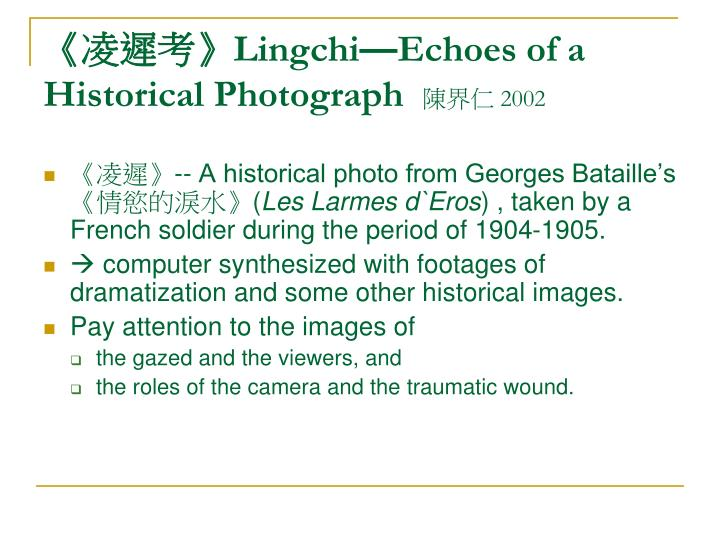 lingchi echoes of a historical photograph 2002 n.