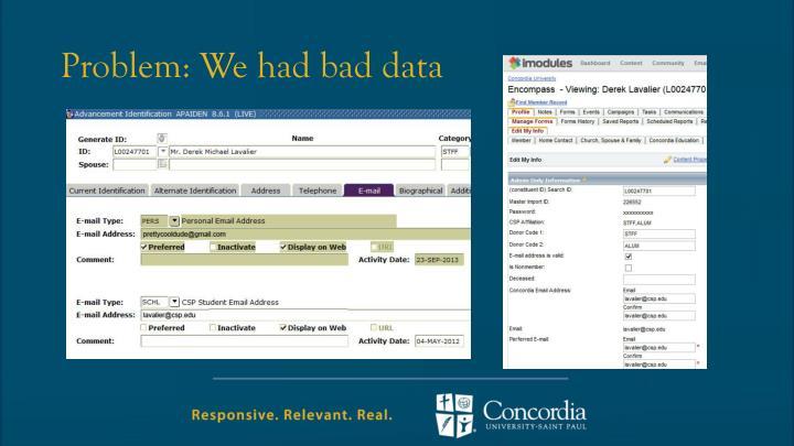 Problem: We had bad data