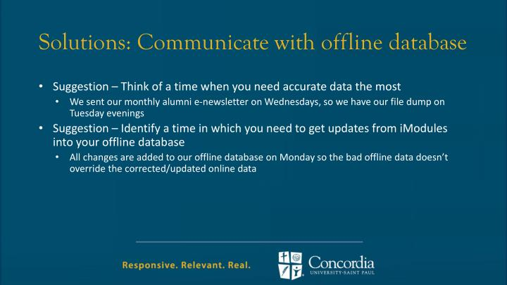 Solutions: Communicate with offline database