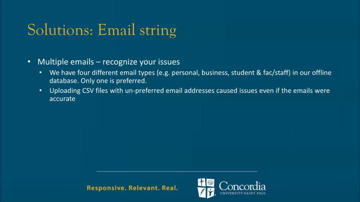 Solutions: Email string
