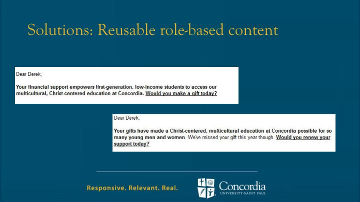 Solutions: Reusable role-based content