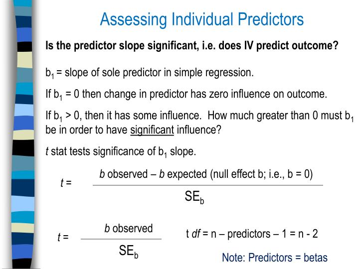 Assessing Individual Predictors