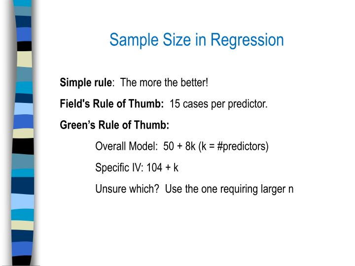 Sample Size in Regression