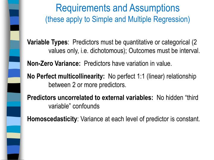 Requirements and Assumptions