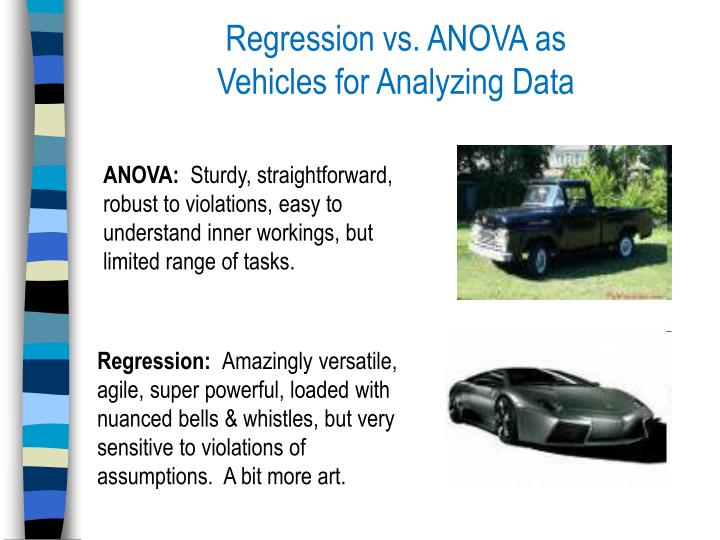 Regression vs. ANOVA as                   Vehicles for Analyzing Data