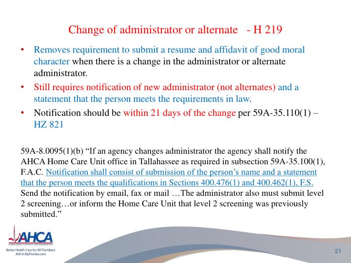 Change of administrator or
