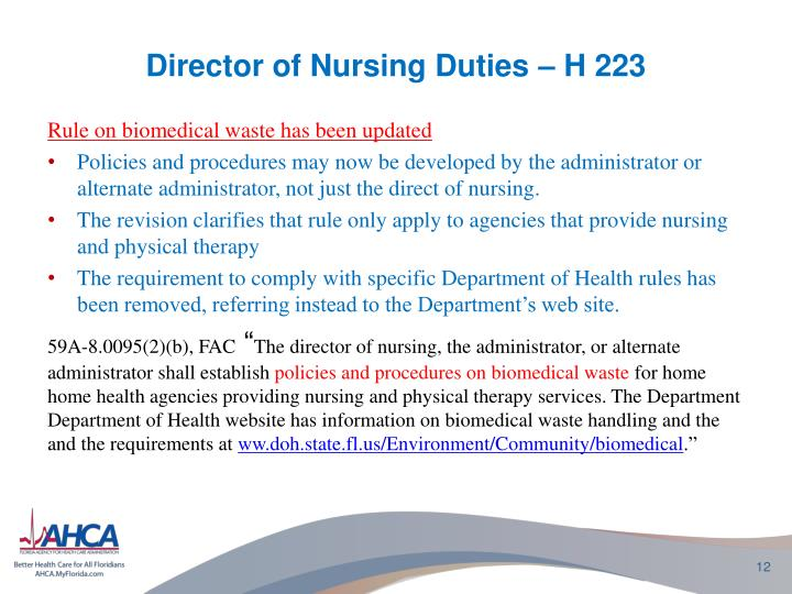 Director of Nursing Duties – H 223
