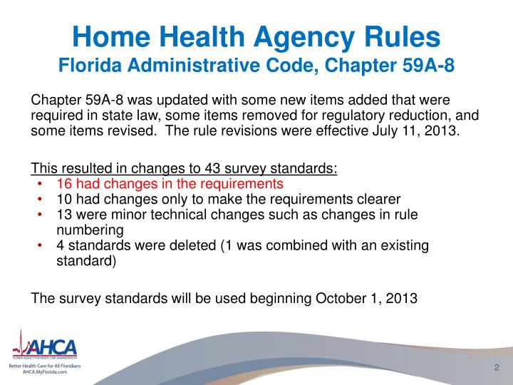 Home health agency rules florida administrative code chapter 59a 8