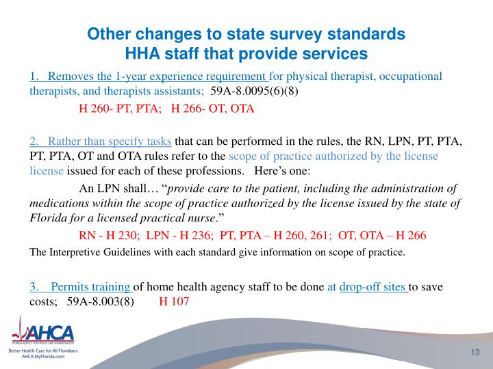 Other changes to state survey standards