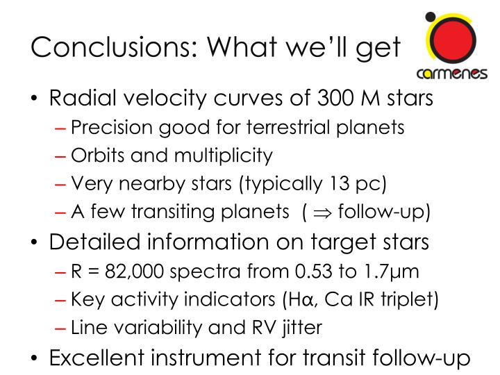 Conclusions: What we'll get