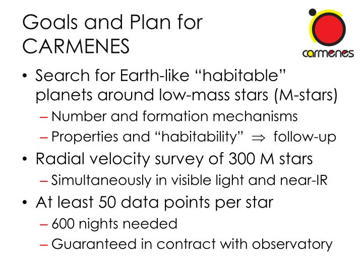 Goals and Plan for CARMENES