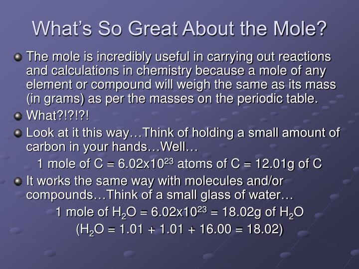 What s so great about the mole