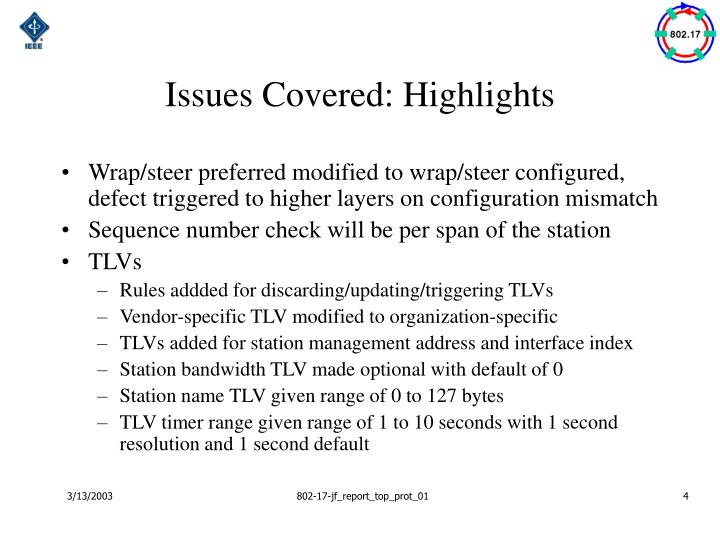 Issues Covered: Highlights