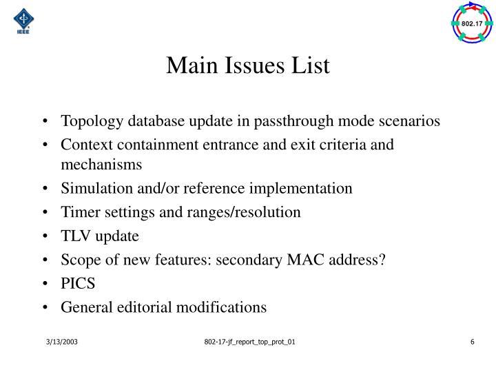 Main Issues List