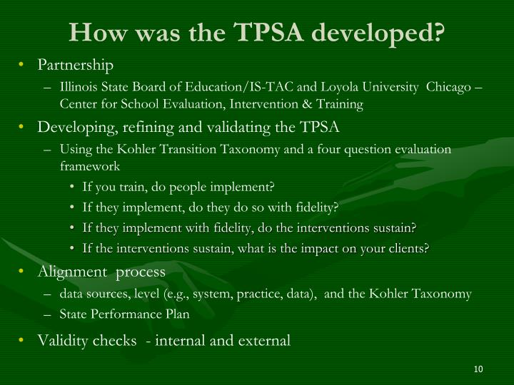 How was the TPSA developed?