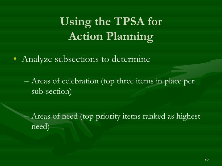 Using the TPSA for