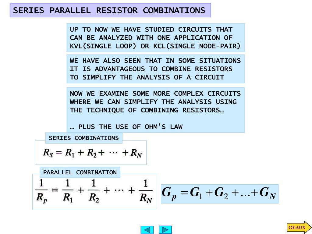 Ppt Series Parallel Resistor Combinations Powerpoint Presentation Resistors Slide1 N